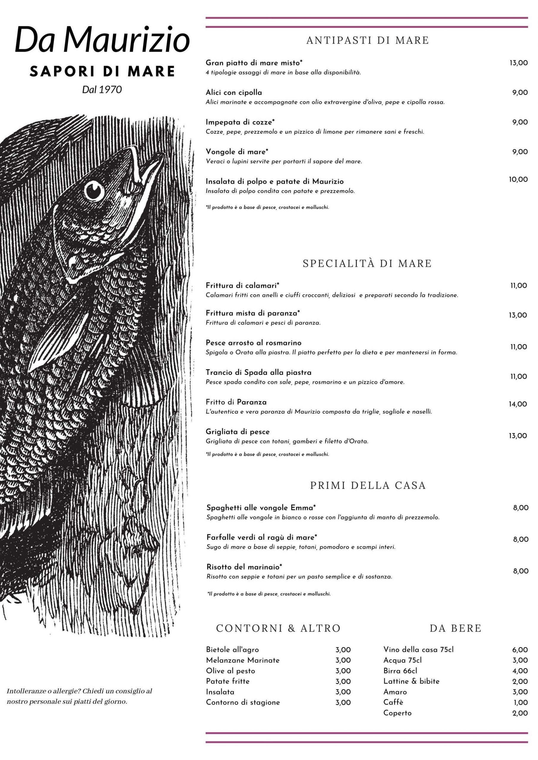 menu di pesce a follonica